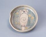 「みみずくの皿」(鴎外自画素焼皿)1913年1月1日画(館蔵)